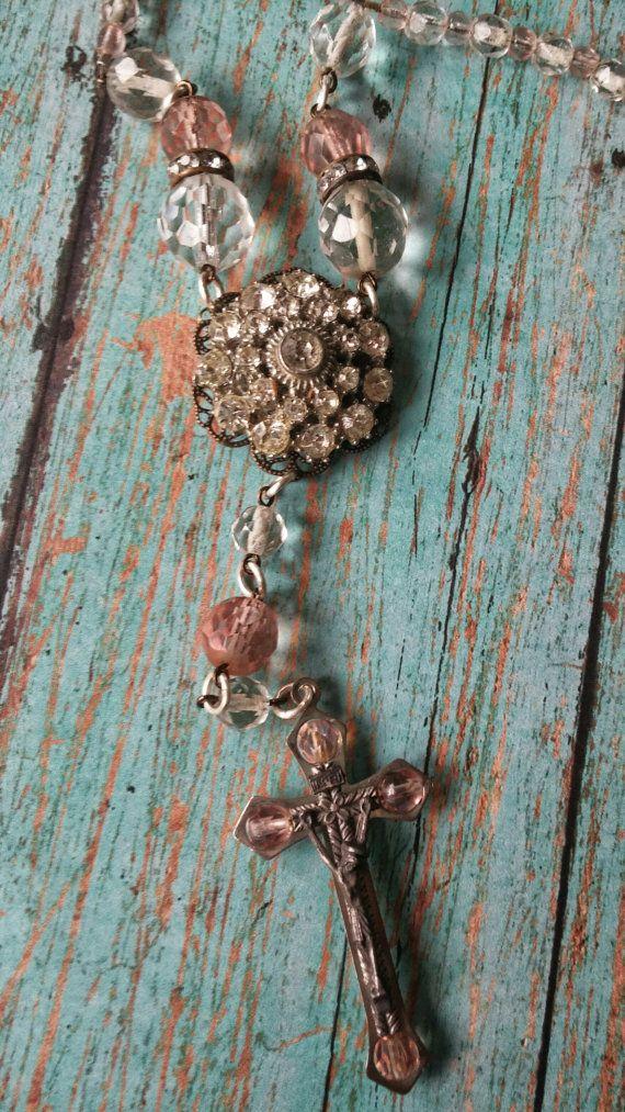 Vintage crucifix rosary necklace goth boho religious