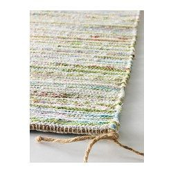 "IKEA TÅNUM cotton rag rug $6.99 Article Number: 302.126.75 2' x 2'11"" would want at least 5 (1 on either side of bed, 2 at foot, 1 in vanity area)"