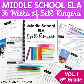 ELA Bell Ringers for Center Faculty: Full Yr eighth Grade Vol. 1