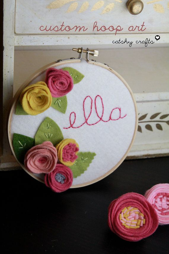 Kids Personalized Embroidery Hoop Art with Felt Flowers and Leaves with Embroidered Name by Catshy Crafts