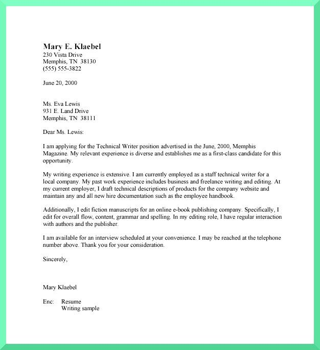 Sample Simple Cover Letters: Basic Cover Letter Format