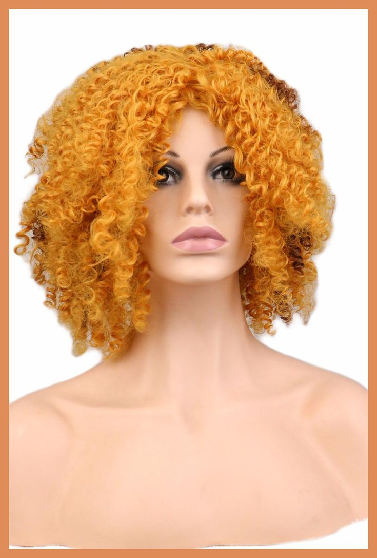 QQXCAIW Ladies Kinky Curly Afro Wig Party Gold Blonde Long Synthetic Hair Wigs for Black Women