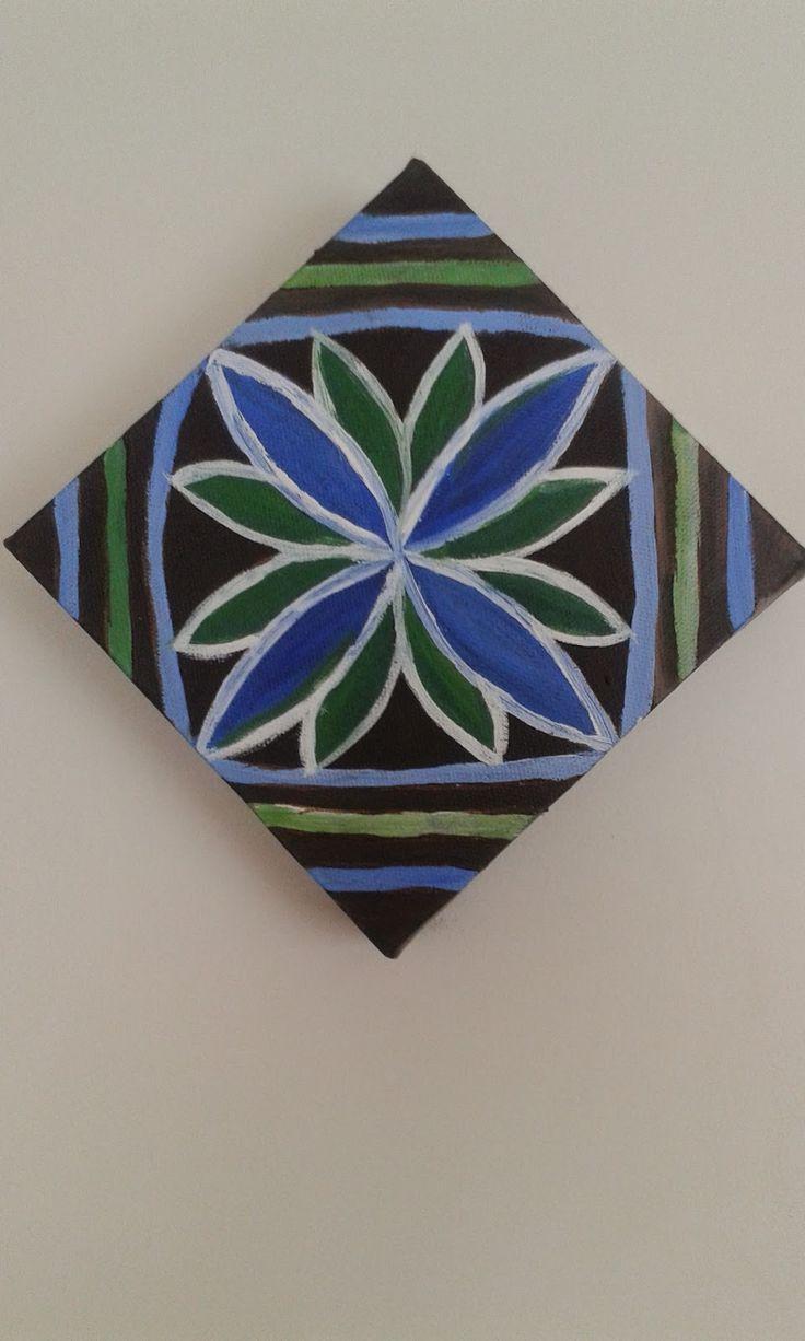 Diagonal view of Pasifika flower design by Helen Tau'au Filisi (c) 2014. Acrylics on canvas.