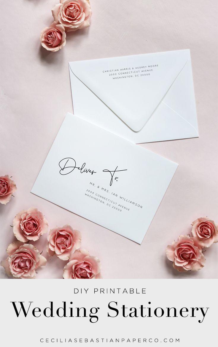 Modern Minimalist Wedding Envelope Addressing Editable Template Clean Simple Envelope Address Printable Instant Download B37 V37 Printable Wedding Envelopes Wedding Envelopes Addressing Envelopes Wedding