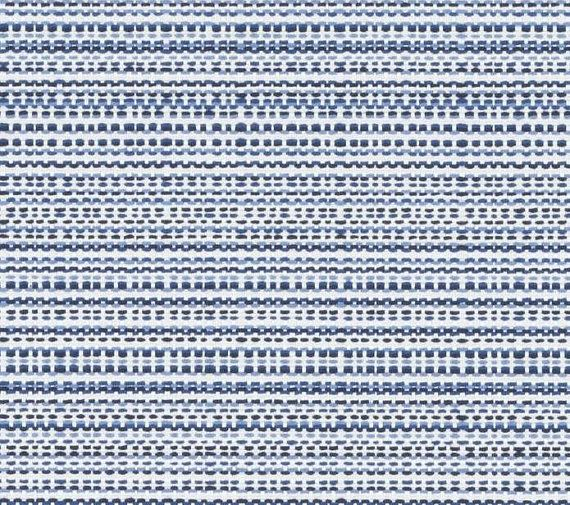 Dark Blue Woven Upholstery Fabric  Chambray Blue Ivory