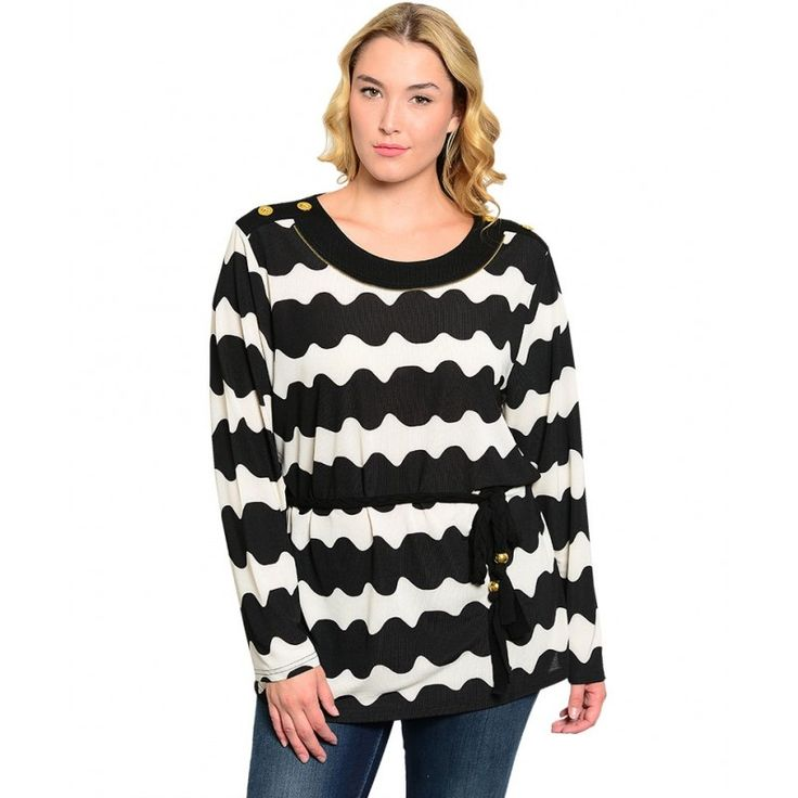 Ivory and Black Wavy Stripe Design Top with Self Tied Sash Long Sleeve 1XL , 2XL , 3XL - Tops