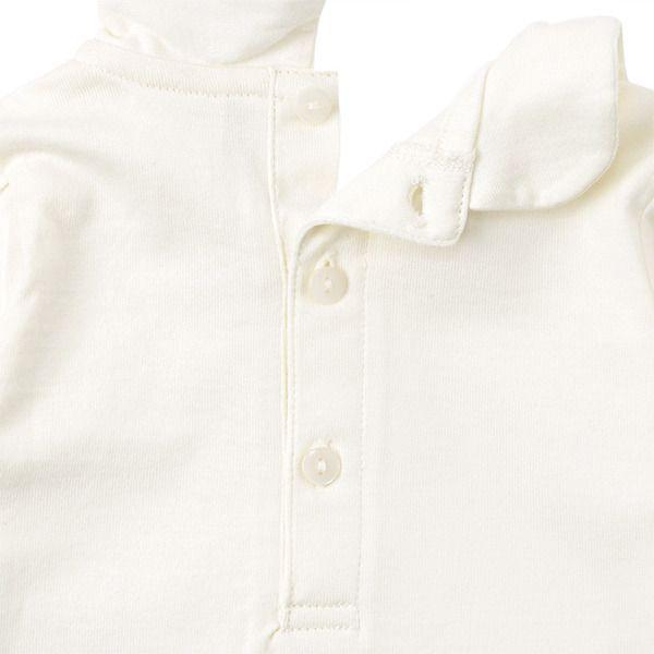 [キッズ]シンプルフリー 長袖Tシャツ 衿付き ホワイト