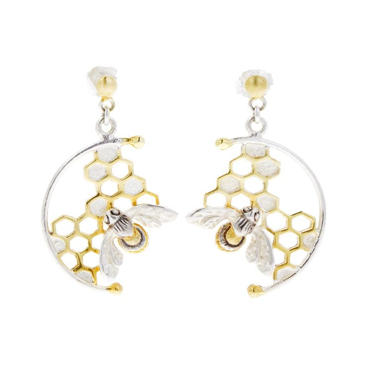 Sterling silver honey bee earrings   Luxury gifts   Natural History Museum Online Shop