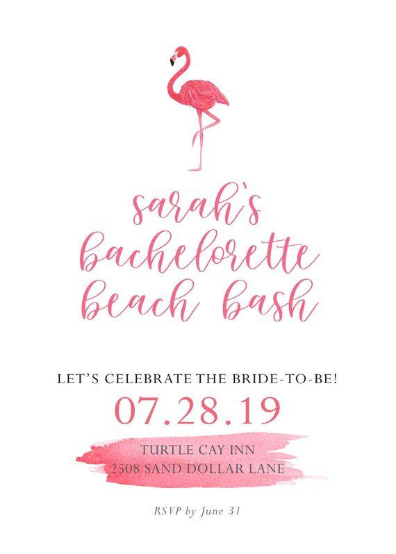 printable pink bachelorette party flamingo invitations beach party