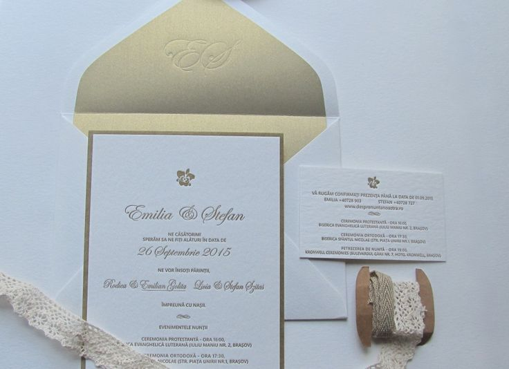 letterpress wedding suite: white cotton paper printed with gold ink and assorted with a personalised metallic gold liner