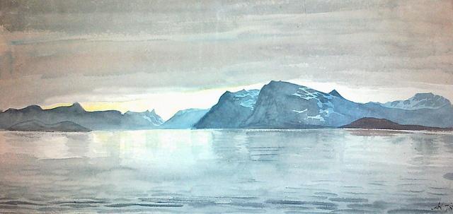 Midnight in Bjørnesund, Greenland June 9th 1878. Midnat ved mundingen af Bjørnesund. Tegning af Andreas Kornerup, 9. juni 1878
