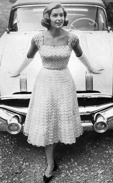 Vintage Crochet Pattern 1950s Lacy Evening Dress Circle Skirt Digital Download…