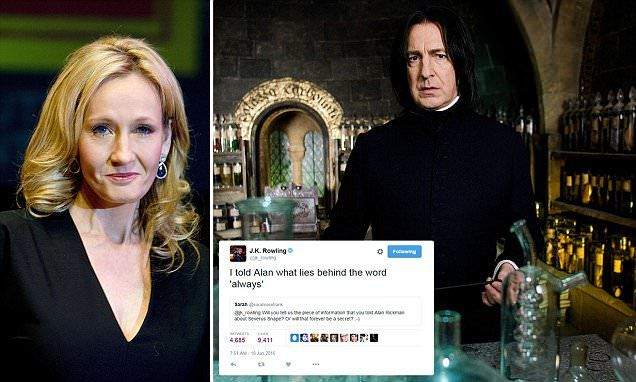 In a 2011 interview the actor, who died last week aged 69, said author Rowling had given him a 'tiny, little, left of field' detail to help his portrayal of antihero Professor Severus Snape.