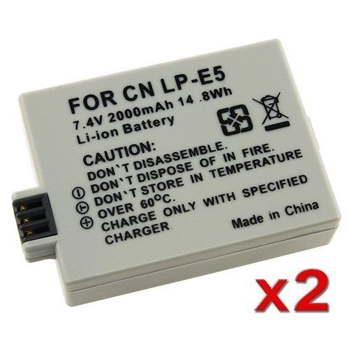 LP-E5 REPLACEMENT BATTERY PACK Compatible with CANON CAMERA EOS Digital Rebel Xsi / Xs by prismafot. Compatible With Canon: EOS 1000D / 450D / 500D / Digital Rebel T1i / Digital Rebel XS / Digital Rebel XSi / Kiss F / Kiss X2 / Kiss X3