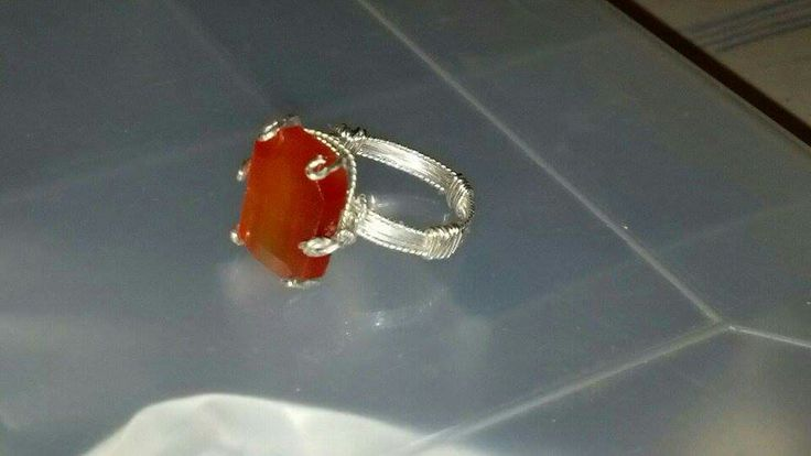 Carnelian and silver wire wrap ring