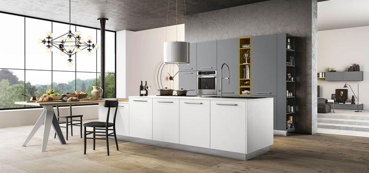 Cucina Moderna - Time Finiture: bianco glass opaco, grigio cenere opaco, giallo ocra opaco | Top corian bianco | Maniglie 430 inox | Zoccolo inox http://www.arredo3.it/cucine-moderne/cucina-moderna-time/