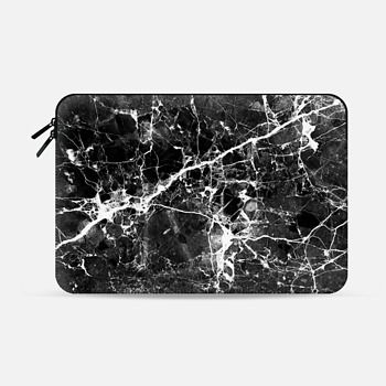 Macbook Pro 13 Sleeve Black white modern chic marble texture patterns