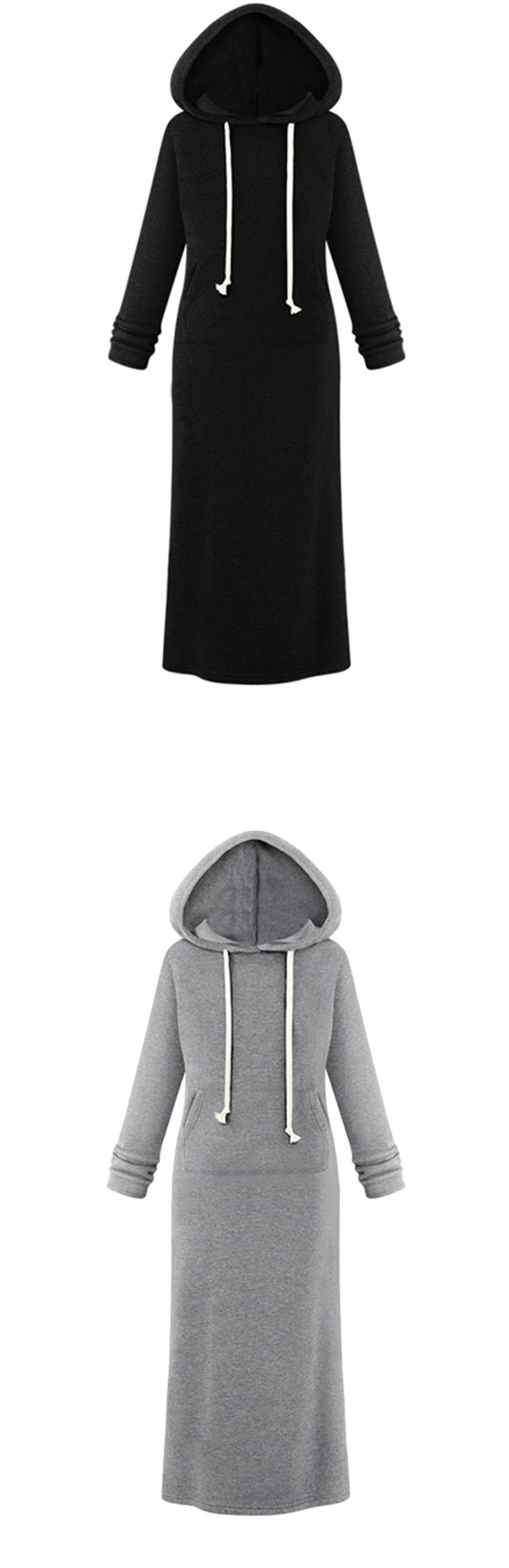 Women's Hooded Pullover Maxi Sweatshirt Dress...