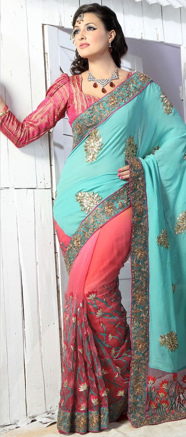#Turquoise and #Pink Viscose #Saree with Blouse @ $106.51