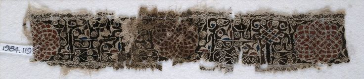 Ashmolean − Eastern Art Online, Yousef Jameel Centre for Islamic and Asian Art, Textile fragment with interlacing scrolls and knotted pattern Egypt, 2nd half of the 12th century - 13th century