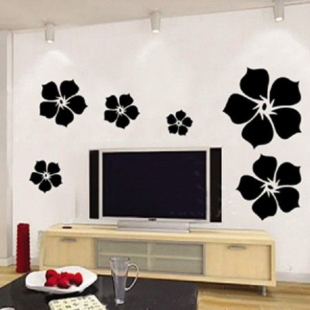 Black Flower Wallsticker Vinyl Wall Decal Bedroom Living Room Wallpaper  Http://walldecals