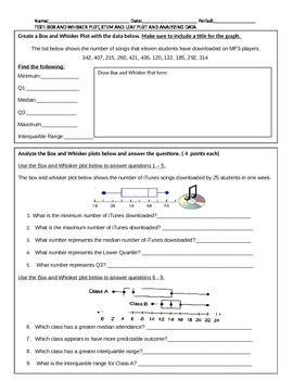 Box and Whisker Plot, Stem and Leaf Plot Test