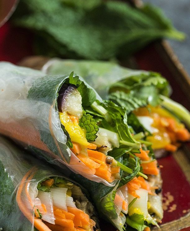 Senegalese Summer Rolls with Peanut Ginger Sauce