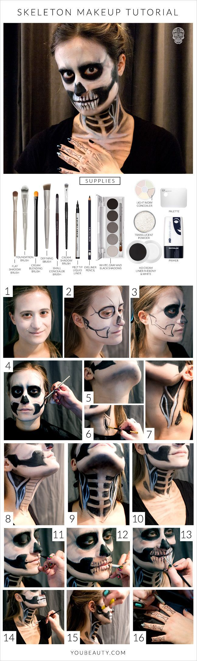 You Can Do This Halloween Skeleton Makeup Tutorial With Makeup You Already Own:
