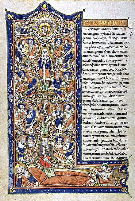 Tree of Jesse - Capuchin's Bible, c. 1180,Bibliothèque nationale de France, Paris
