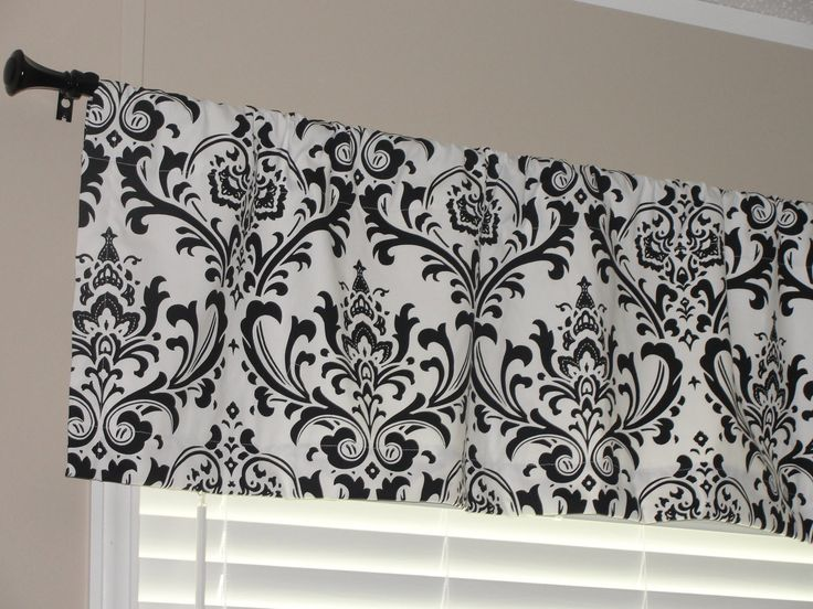 """Premier Prints Black and White Damask Valance 52"""" wide x 16"""" long Lined with Cotton Muslin. $35.00, via Etsy."""