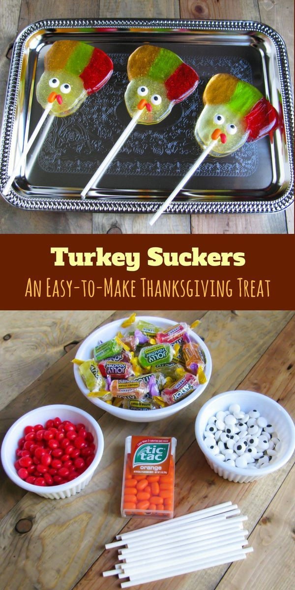 """These """"sweet"""" turkey suckers are the perfect Thanksgiving dessert / treat.  They are sure to get """"gobbled"""" right up!"""