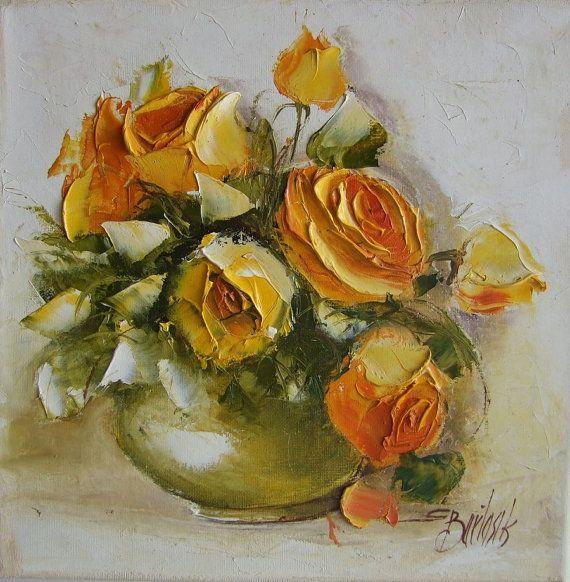 FREE Shipping Impasto Yellow Roses Original Oil by ArtistsUnion
