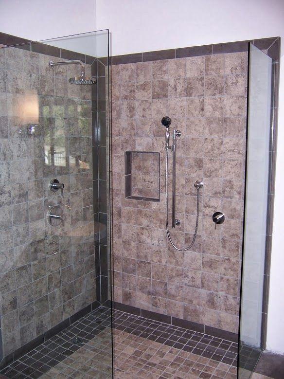 Gray  grey  brown  beige  ceramic  tile  shower  walkin. 17 Best images about Tandem Tile Showers   Bathrooms on Pinterest