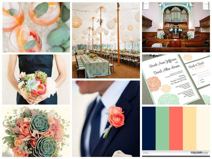 Navy And Peach Wedding Invitations: Navy, Coral, Mint (peach, Sage) (via Fotor.com)