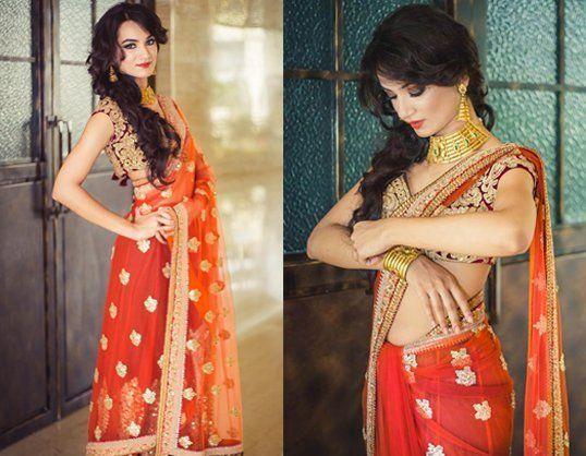 #MubinaKapasi looked breathtakingly beautiful in an embroidered burnt orange lehenga sari by #Sabyasachi. (Picture courtesy- #weddingsutra.com)