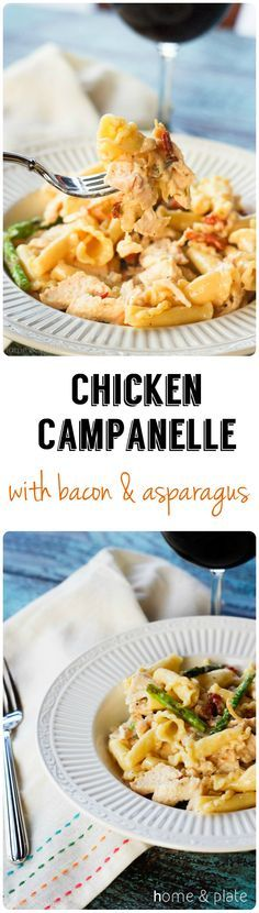Chicken Campanelle with Bacon & Asparagus | Home & Plate | http://www.homeandplate.com | The perfect dinner for two.