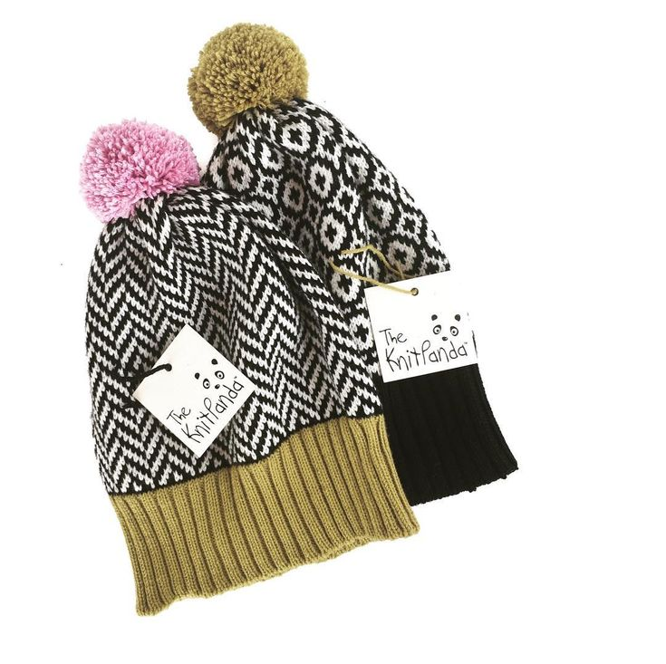Knitted pompom beanies by @theknitpanda