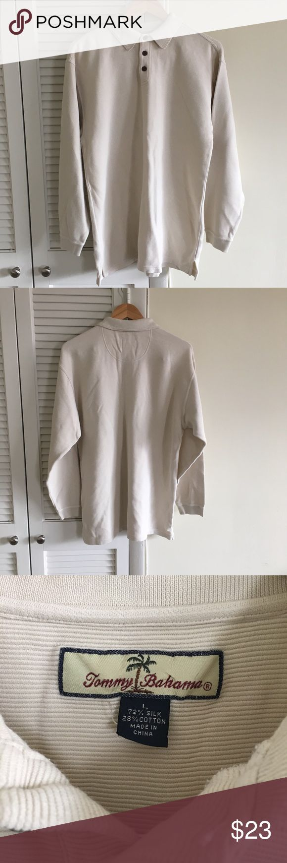 Cream silk Tommy bahama long sleeve polo shirt Cream Tommy bahama long sleeve polo rugby shirt  Excellent condition  No stains no damages no holes  Fits perfect to size  Willing to negotiate offer Tommy Bahama Shirts Tees - Long Sleeve