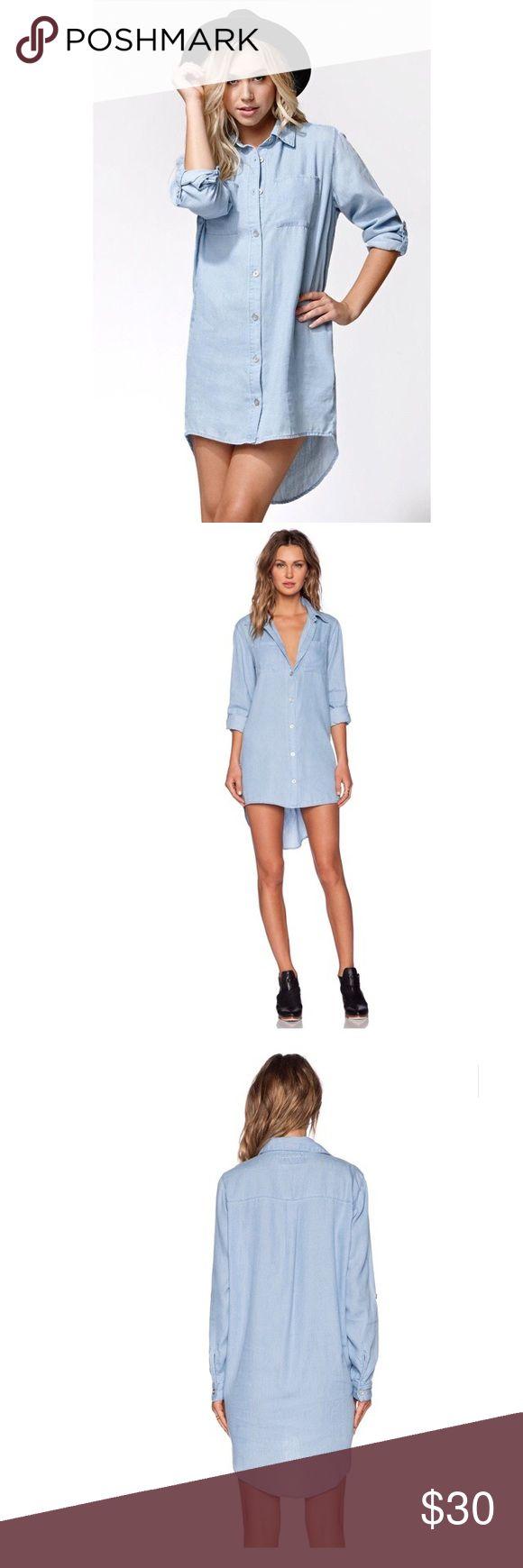 Evil Twin Chambray Shirt Dress Light blue shirt dress, new w/ tags! Evil Twin Dresses High Low