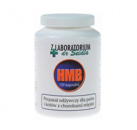 Dermapharm HMB 120 kapsułek. HMB z Laboratorium dr Seidla to odżywczy preparat dla psów i kotów cierpiących na choroby mięśni z upośledzeniem zdolności poruszania się.