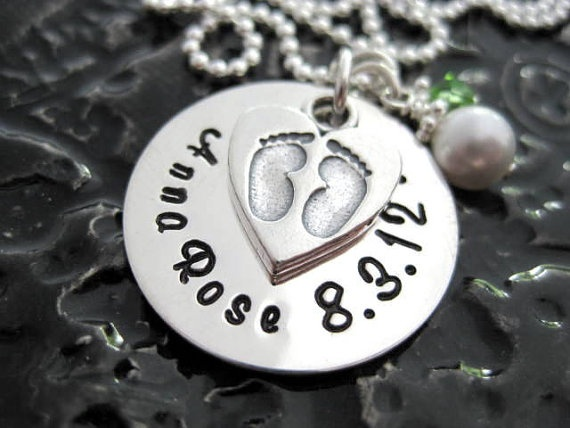 Footprints On My Heart - Hand Stamped Mommy Necklace by BragAboutIt: Mommy Necklace