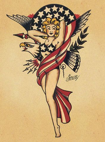 Patriotic American Pin-up Girl with Eagle Old School Tattoo Art