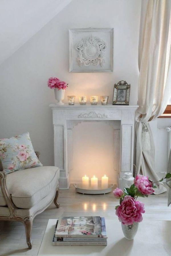 Deko Kamin Windlichter Kaminsims Weisse Kerzen Shabby Chic Pinterest