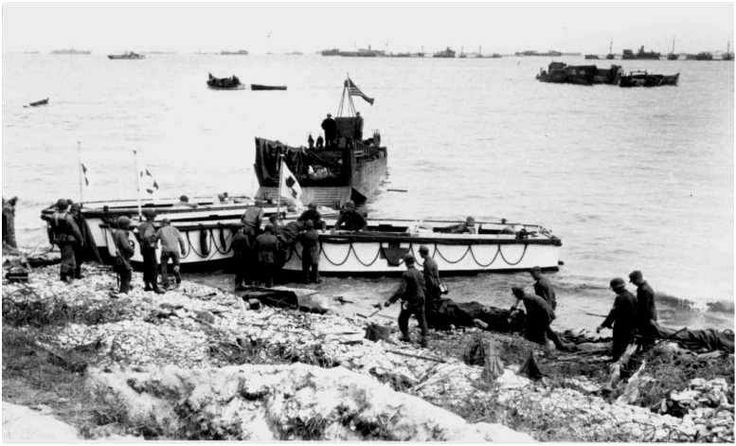 Embarkation of wounded POWs, Omaha Beach.