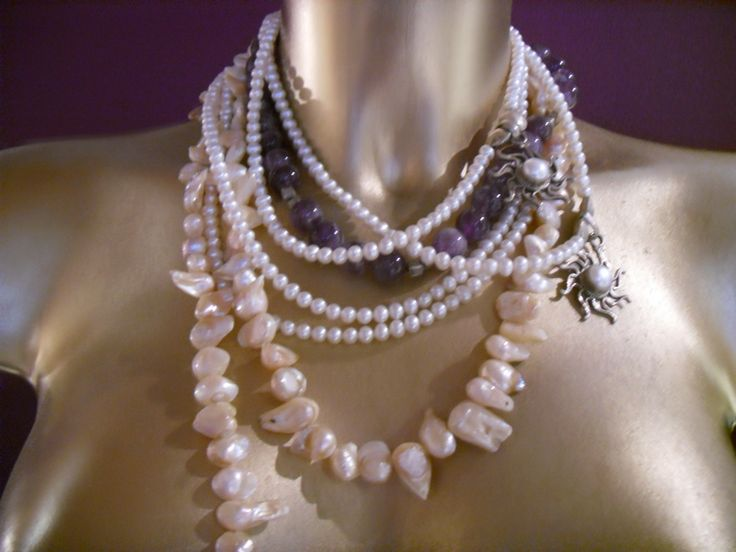 Amethist,pearls and silver necklace