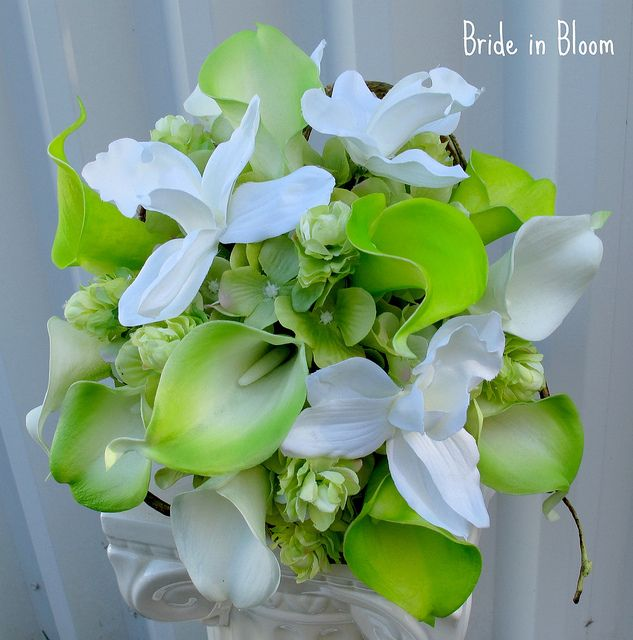 green calla white orchid wedding bouquet silk bridal flowers by Bride in Bloom... I like these!!!!