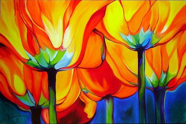Sun through the tulips