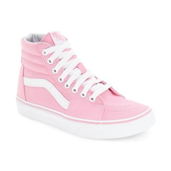 Women's Vans 'Sk8-Hi' Sneaker ($60) ❤ liked on Polyvore featuring shoes, sneakers, pink canvas, pink shoes, pink sneakers, hi tops, high top shoes and pink high tops