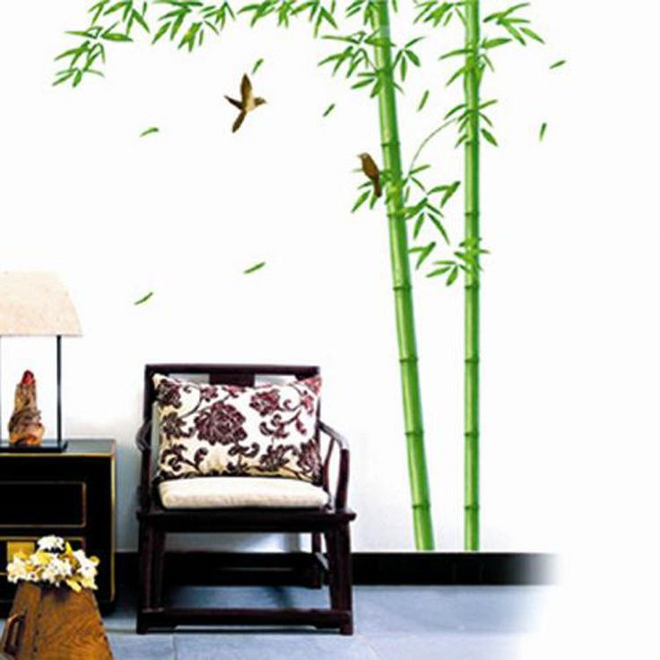 145cm tall green bamboo birds removable wall sticker - Removable wall stickers living room ...