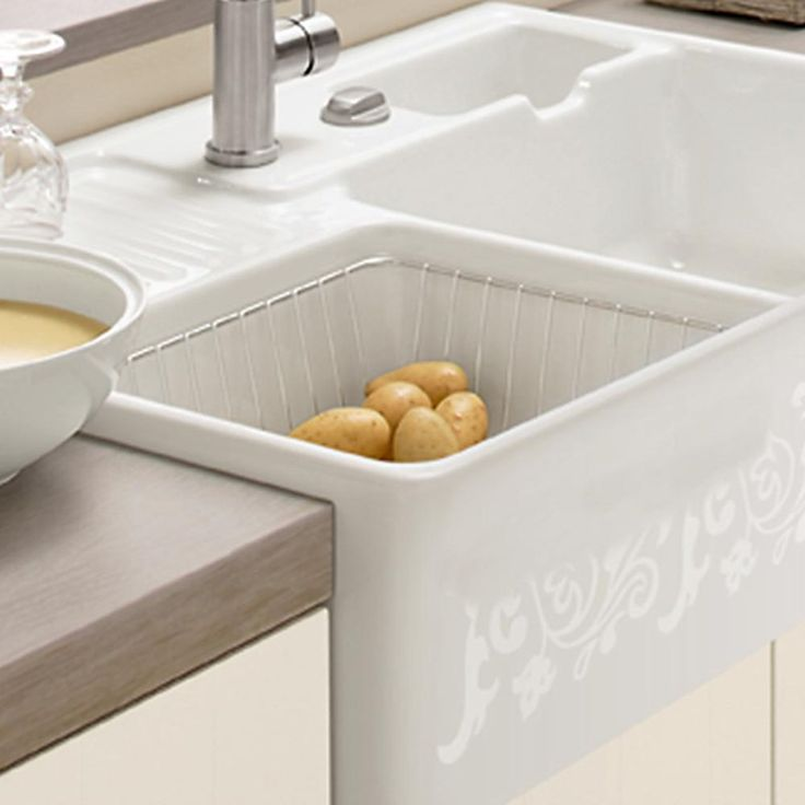 Double Bowl Ceramic Sink With Drainer : Villeroy & Boch Butler 90 Alpine White Ceramic 1.75 Bowl Belfast Sink ...